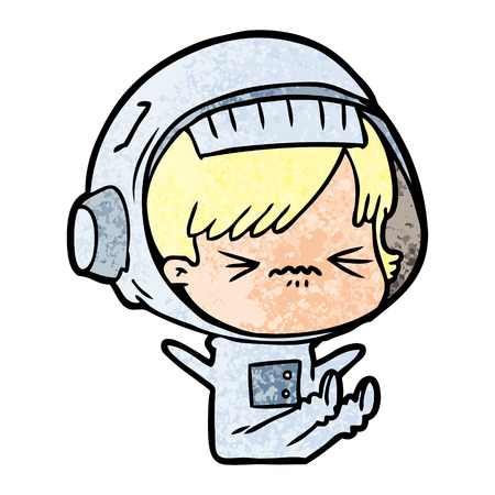 Cartoon space girl throwing a tantrum Illustration