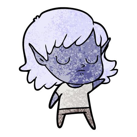 Cartoon elf girl with eyes closed