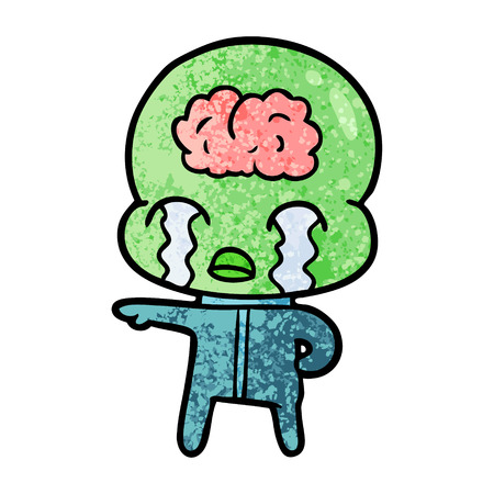 Cartoon big brain alien crying 스톡 콘텐츠 - 95737088