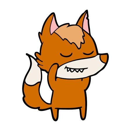 リラックスしたキツネの漫画のキャラクター