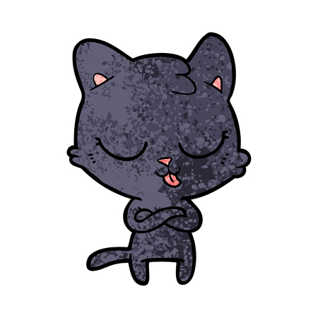 Cartoon cat with tongue out
