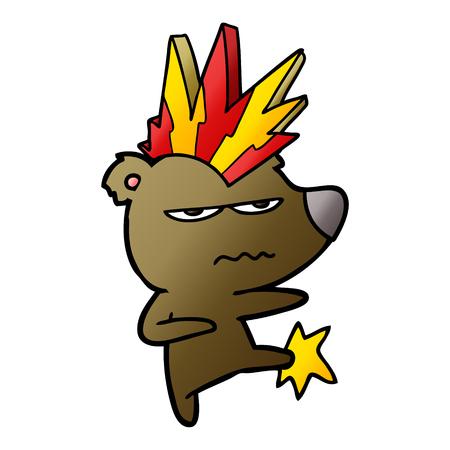 Angry punk bear cartoon kicking