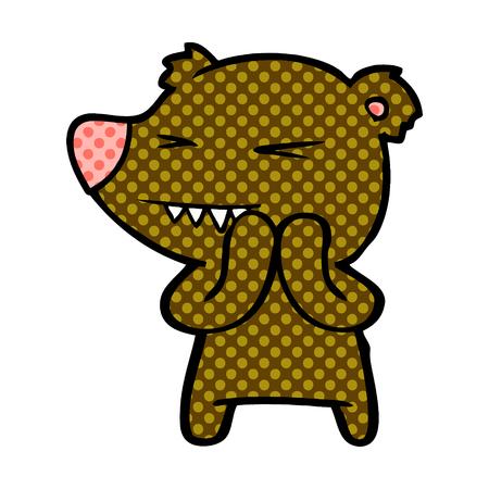 Excited Bear cartoon character Çizim