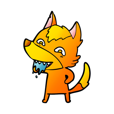 Fox hungry cartoon character