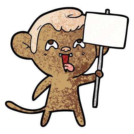 Crazy cartoon monkey with sign Иллюстрация