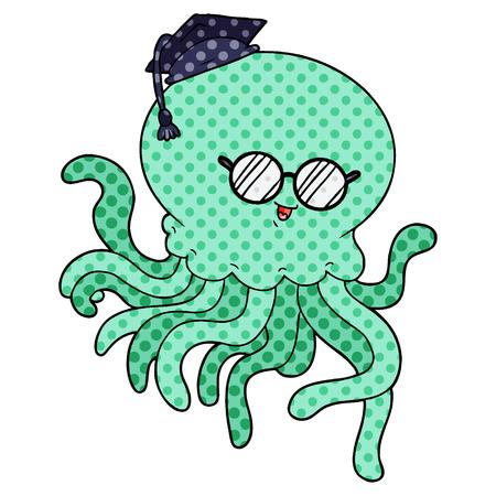 Cartoon jellyfish in love with graduation hat