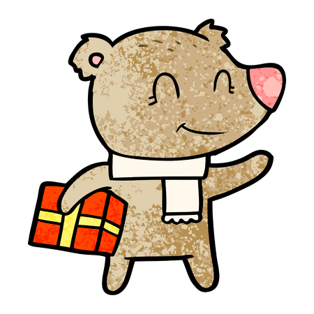 friendly bear with xmas gift and scarf