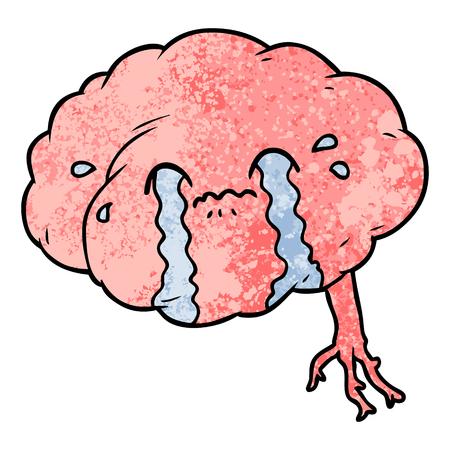 cartoon brain with headache Vector illustration.