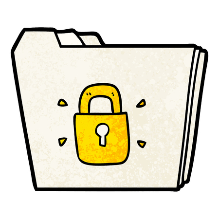 cartoon locked files Illustration