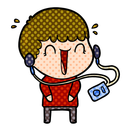 laughing cartoon man with earphones