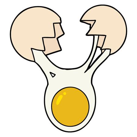 白い背景にひび割れた卵漫画のイラスト。  イラスト・ベクター素材