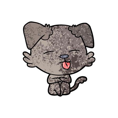 Cartoon dog sticking out tongue illustration on white background. Ilustração