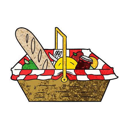 Cartoon picnic basket illustration on white background.