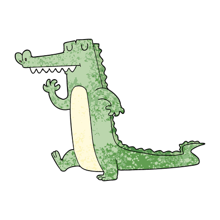 Cartoon crocodile walking illustration on white background.