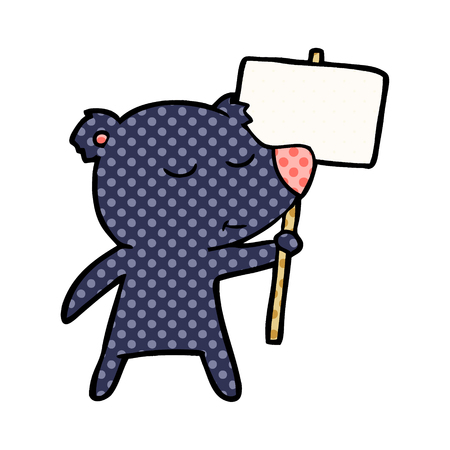 Bear cartoon character with protest sign illustration on white background. Ilustração