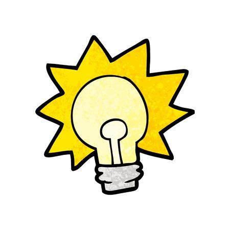 Cartoon shining light bulb illustration on white background.