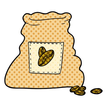 커피 콩의 만화 자루 스톡 콘텐츠 - 95746128