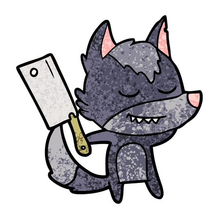 friendly cartoon wolf with meat cleaver