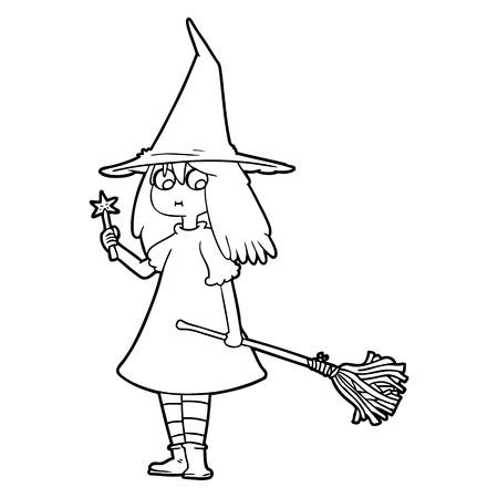 cartoon witch girl with broom Ilustracja