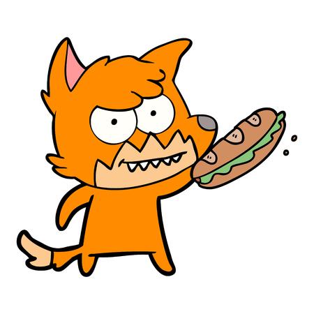 cartoon grinning fox with sandwich