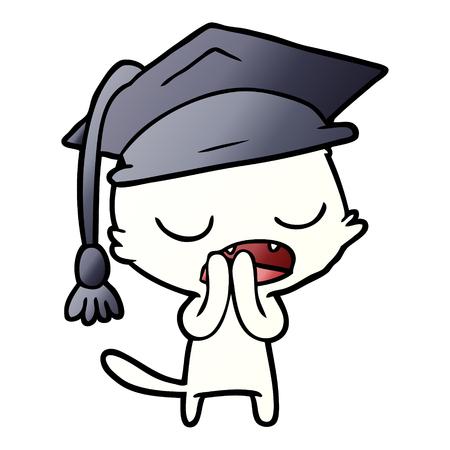 Graduate talking cat cartoon Illustration