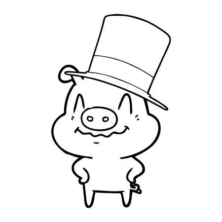 Nervous cartoon rich pig with top hat