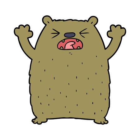 Angry bear cartoon character