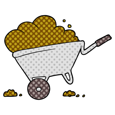 Cartoon wheelbarrow with soil illustration Çizim