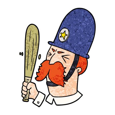 バトンを振る漫画の警官