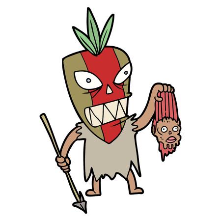 cartoon tribesman with shrunken head
