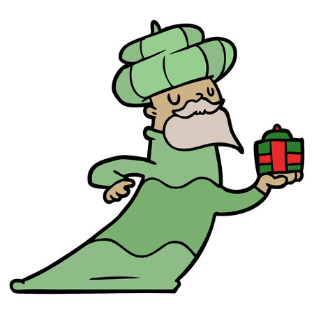 Man in green cloak holding a green present