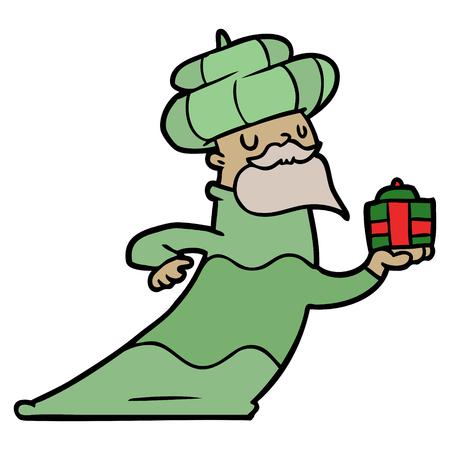 Man in green cloak holding a green present