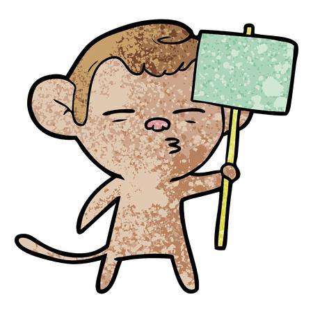 cartoon suspicious monkey with signpost