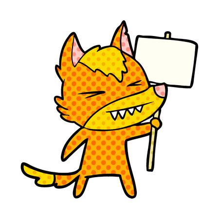 Fox Zeichentrickfigur mit Protest Zeichen Standard-Bild - 95823289