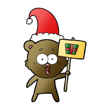 laughing christmas teddy  bear cartoon Illustration