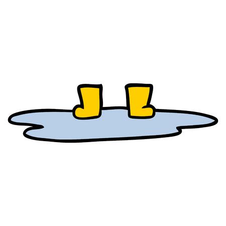 水たまりの漫画ウェリントンブーツ