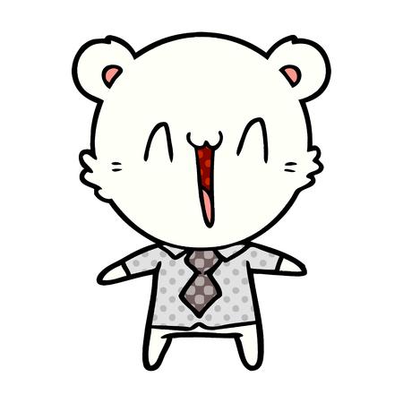 Polar bear cartoon wearing a shirt and tie