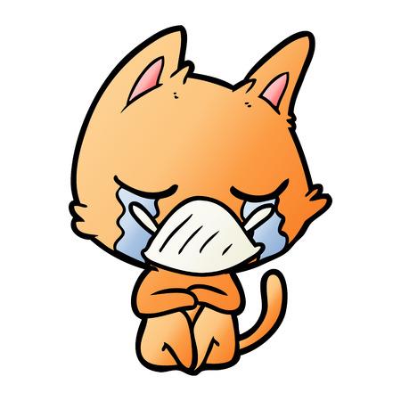 Crying cartoon cat sitting