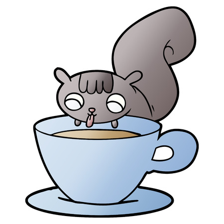 Cartoon squirrel drinking on an cup Ilustracja