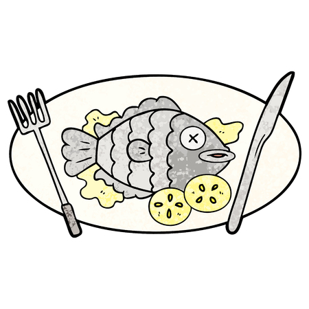 Cooked fish cartoon on a plate 向量圖像