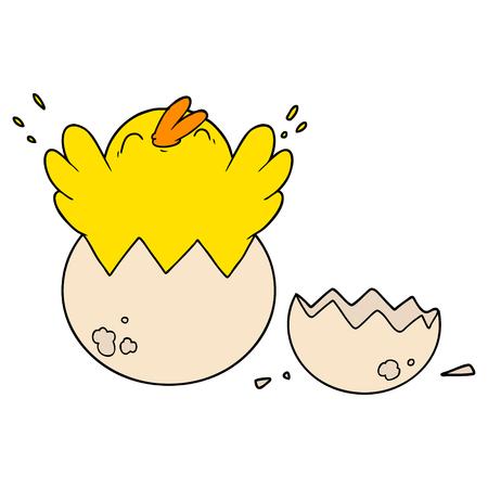 cartoon chick hatching from egg Ilustração