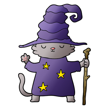 cartoon cat wizard Çizim