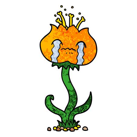 cartoon flower crying