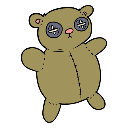 Old teddy bear cartoon illustration on white background.