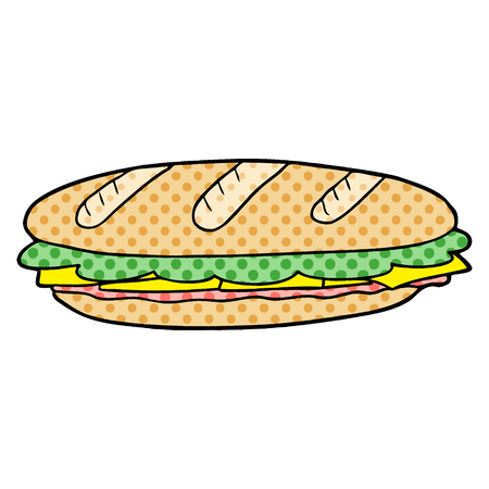 白い背景に漫画バゲットサンドイッチのイラスト。