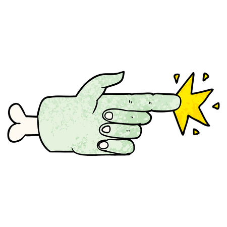 Cartoon zombie hand pointing