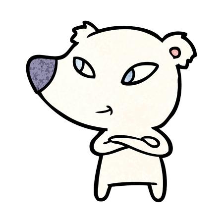 Polar bear cartoon with crossed arms