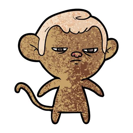 白い背景に孤独な漫画の猿のイラスト。