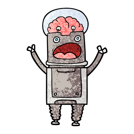Cartoon robot shocked illustration on white background. Stock Illustratie
