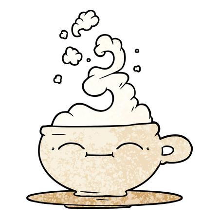 Cartoon hot cup of coffee smiling illustration on white background. Ilustração